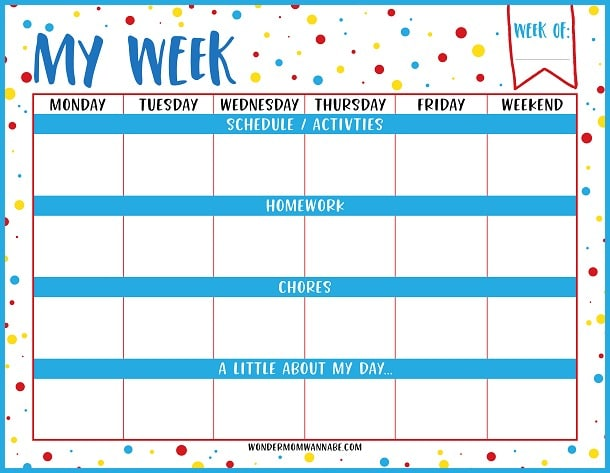 Adorable image in printable weekly planner for students